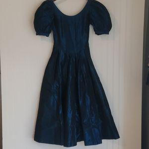 Vintage Laura Ashley Blue Taffeta Dress